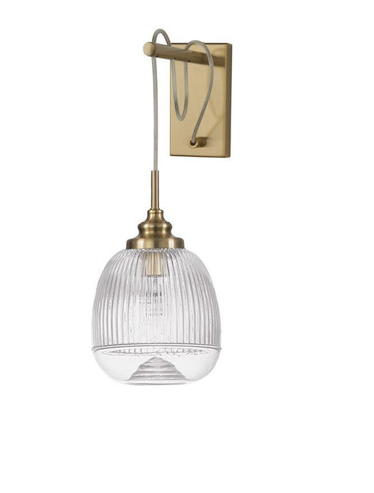 MON Clear Lined Enclosed Glass & Gold Metal Single Wall Light - ID 10030