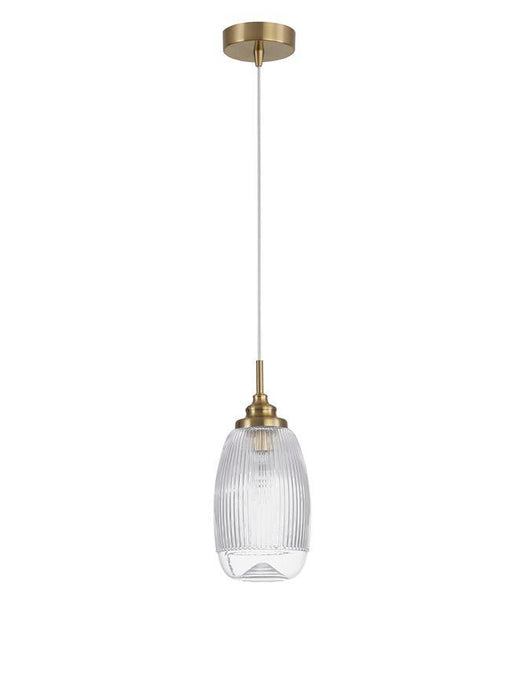 MON Clear Lined Enclosed Glass & Gold Metal Single Pendant Tall - ID 10024