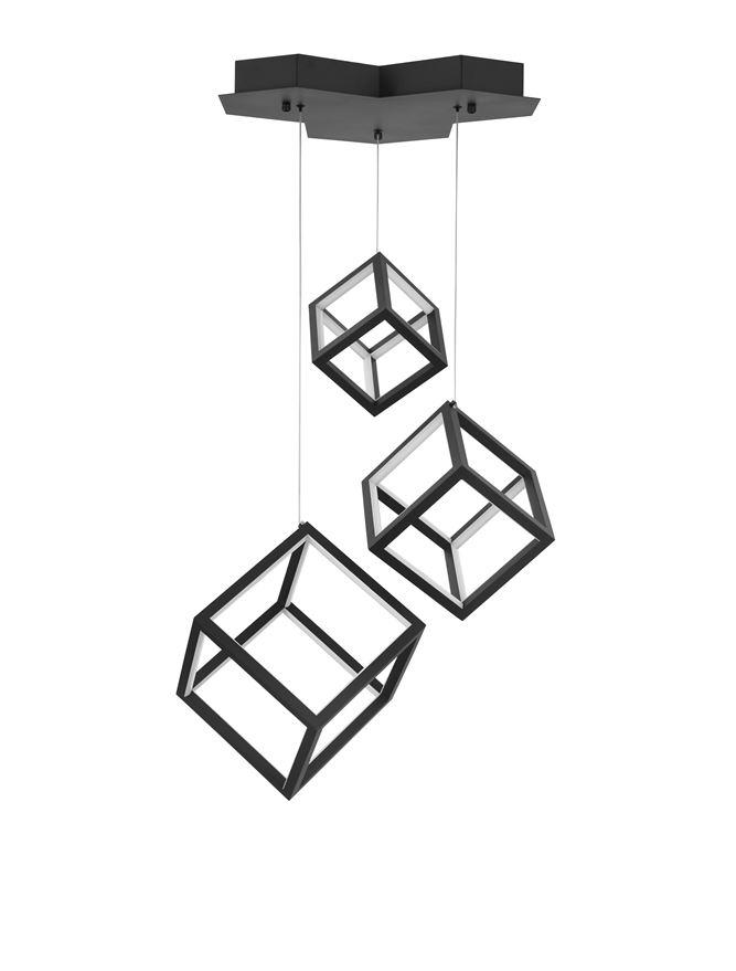GAB Sandy Black Aluminium & Silicone Cube Multiple Drop Pendant - ID 10186