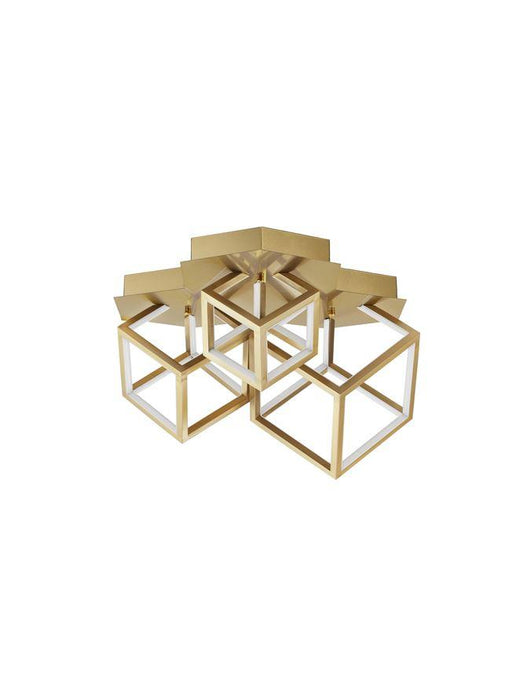 GAB Gold Aluminium & Silicone Cube Semi-Flush Ceiling Light - ID 10184