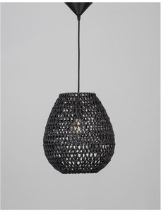 GRI Black Paper With Black Fabric Cable & Base Single Pendant - ID 10444