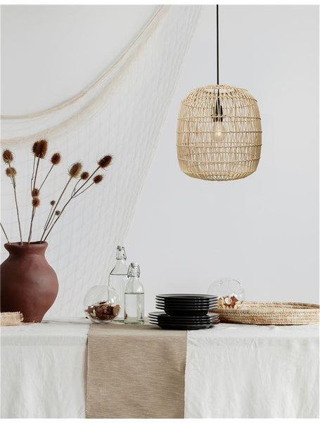 MEL Natural Ratan With Black Fabric Cable & Base Single Pendant - ID 10446