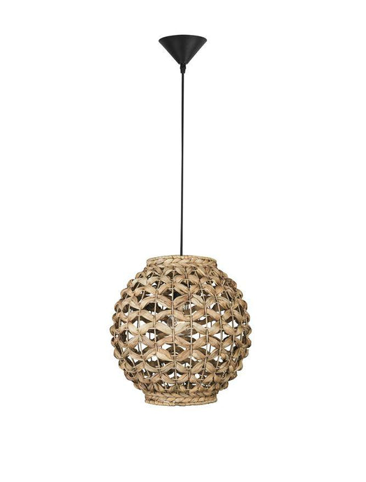 GRI Dried Water Hyacinth With Black Fabric Cable & Base Single Pendant - ID 10443