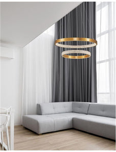 PRE Dimmable Gold & Acrylic Twin Ring Pendant - ID 10063