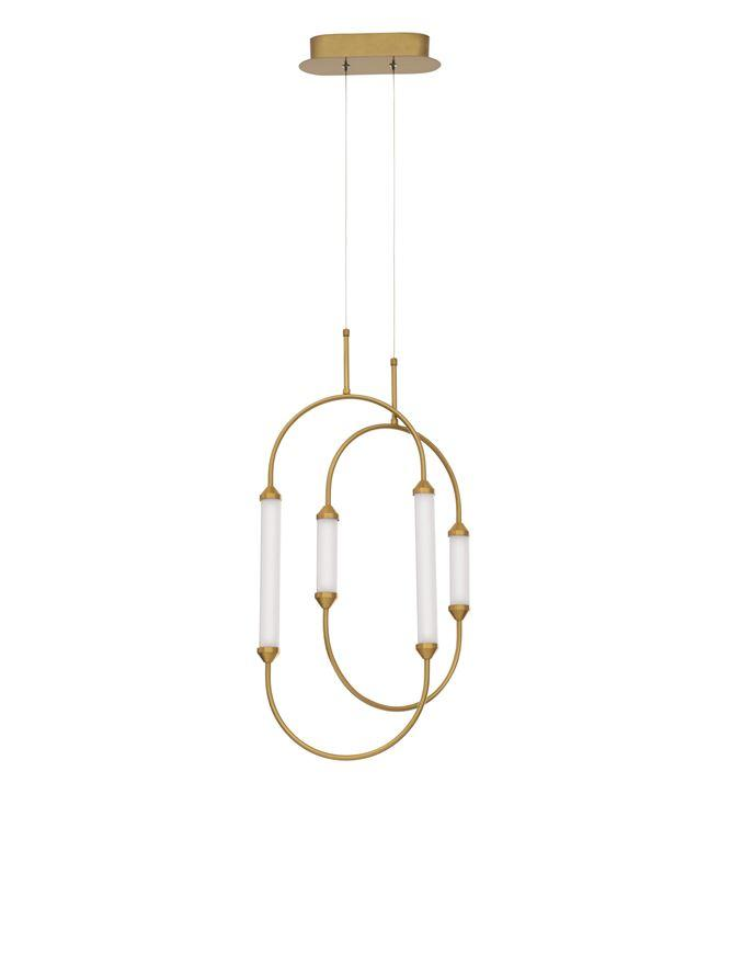 ZIM Gold Brass Metal & Glossy Glass Twin Oval Pendant - ID 10095