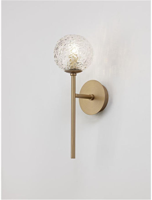 MIRA Clear Structured Glass & Brass Gold Steel Wall Light - ID 10544