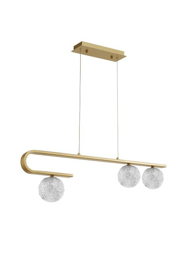 MIRA Clear Structured Glass & Brass Gold Steel Ceiling Light - ID 10547