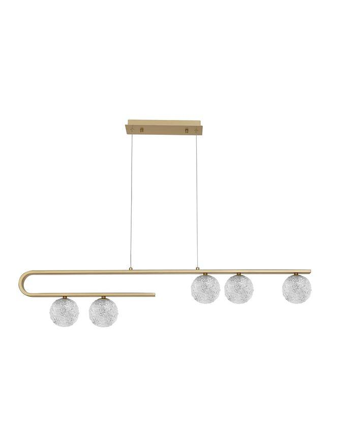 MIRA Clear Structured Glass & Brass Gold Steel Ceiling Light - ID 10543