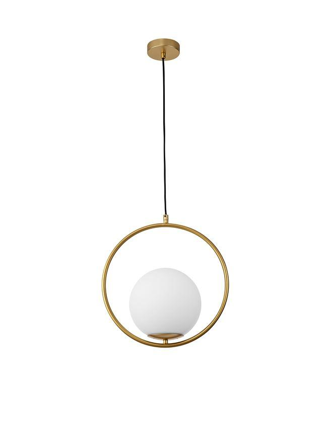 OBI Opal Glass With Brass Gold Metal 1 Light Large Single Pendant - ID 10405