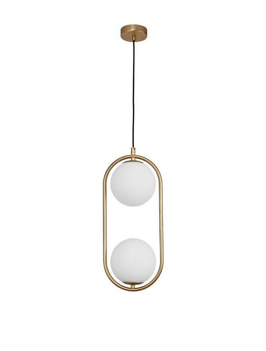 OBI Opal Glass With Brass Gold Metal Twin Light Single Pendant - ID 10555