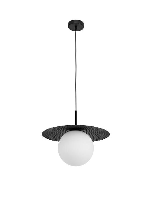 OBB Clear Opal Glass & Matt Black Finish Pendant - ID 10013