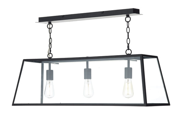Academy Black 3 Lamp Ceiling Light - London Lighting - 1