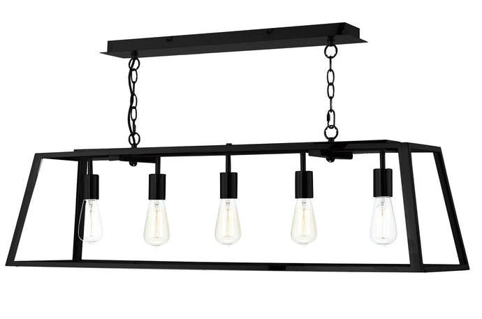 Academy Black 5 Lamp Ceiling Light - London Lighting - 1