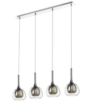 Smoked Grey & Clear Glass 4 Lamp Linear Bar Pendant - ID 9803