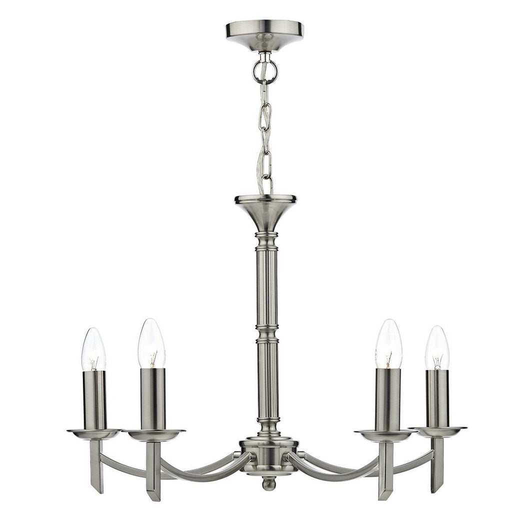 Ambassador Satin Chrome 5 Lamps Dual Mount Pendant Light - London Lighting - 1