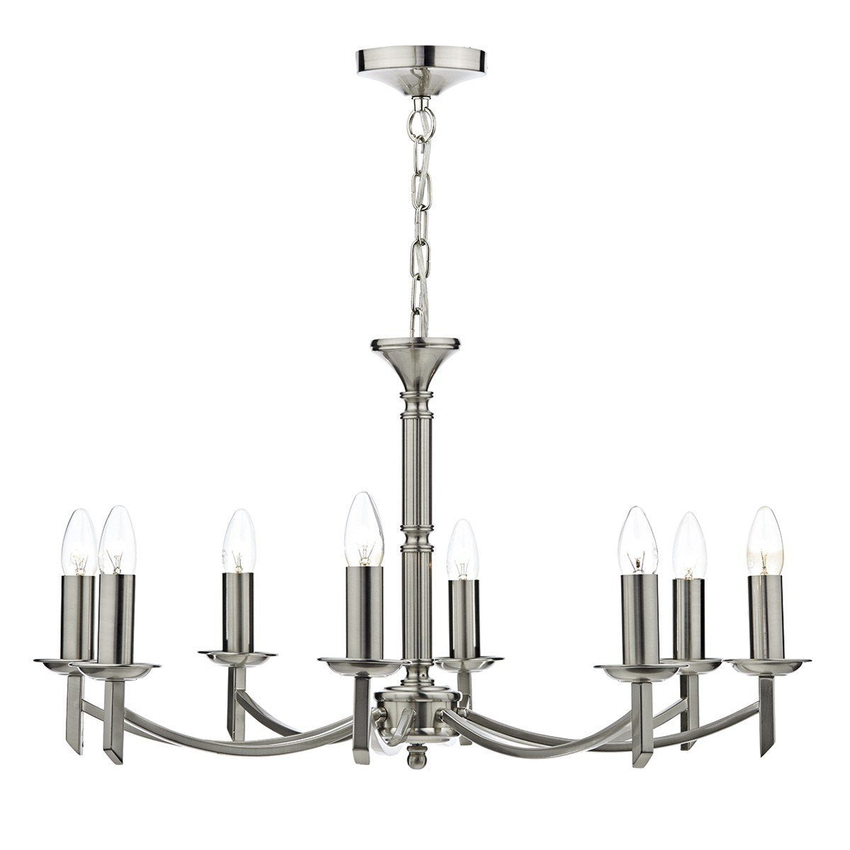 Ambassador Satin Chrome 8 Arm Dual Mount Pendant Light - London Lighting - 1