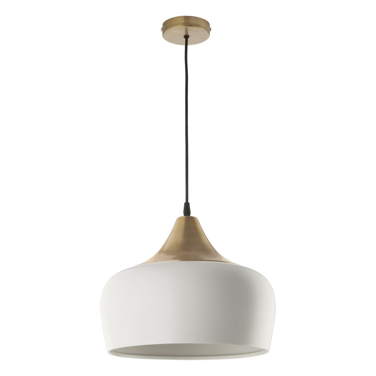 1 Light Pendant In White & Antique Brass - ID 7737