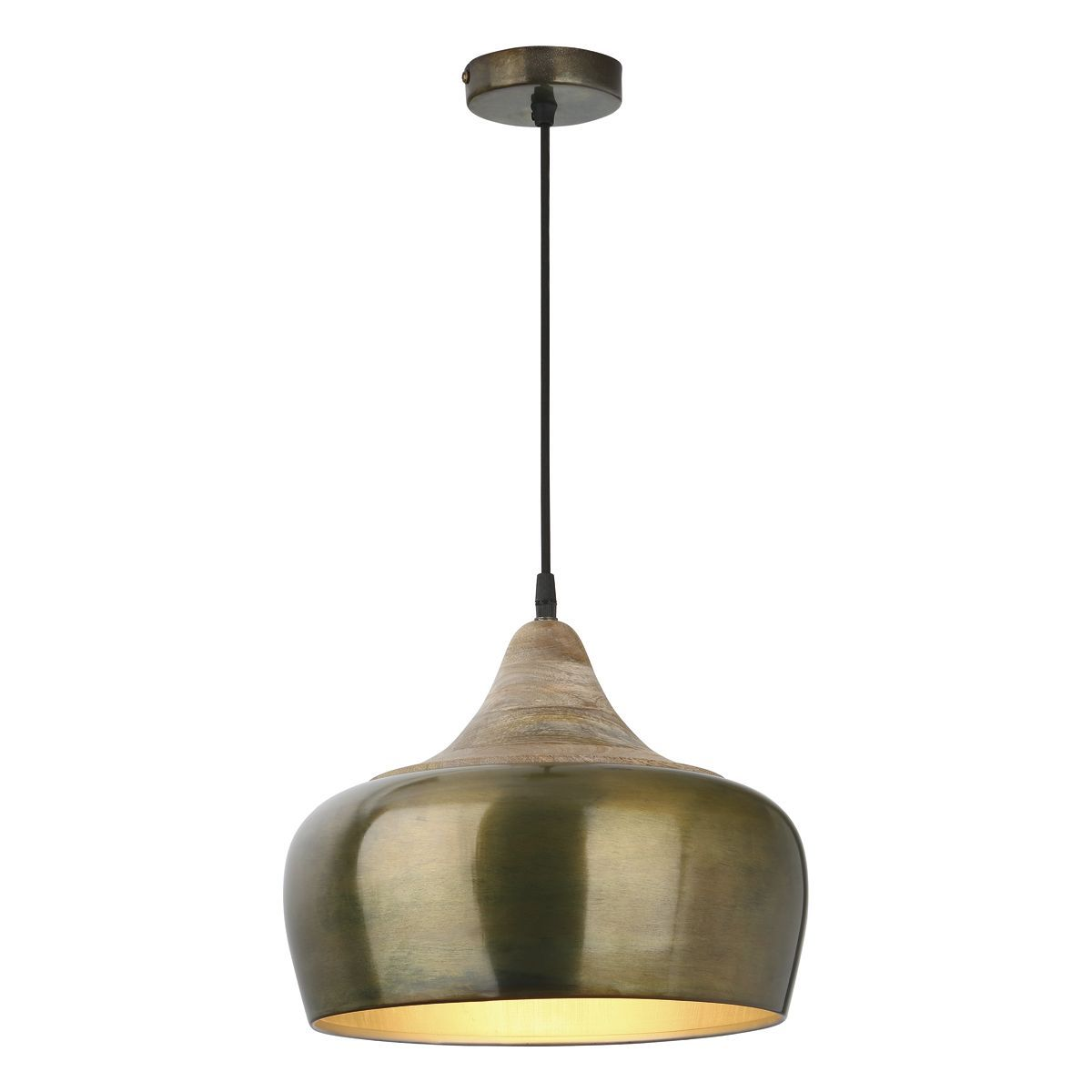 1 Light Pendant In Aged Gold With Real Wood Cowl - ID 7731