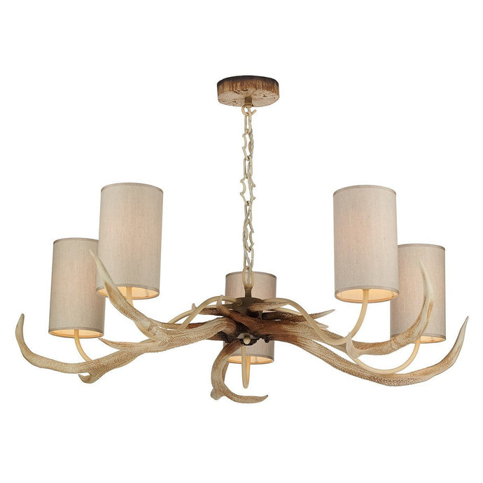 Antler Bleached 5 Lights Pendant Light - London Lighting - 1