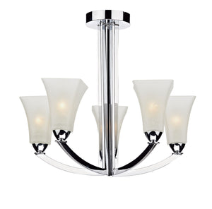 Arlington Chrome 5 Arm Ceiling Light - London Lighting - 1