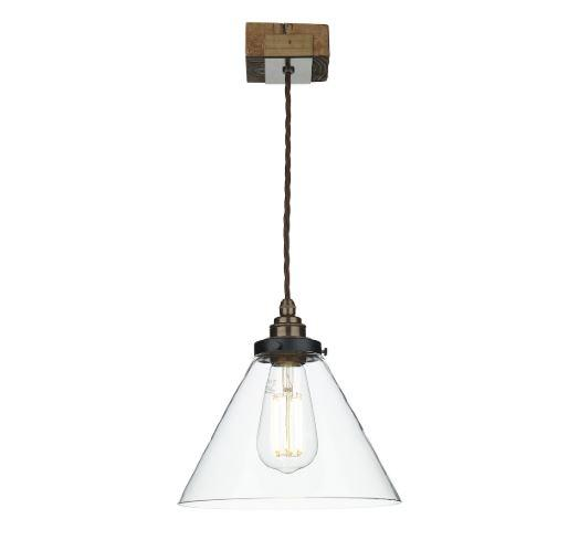 Wooden Style Single Pendant with Clear Glass Shade - ID 10268