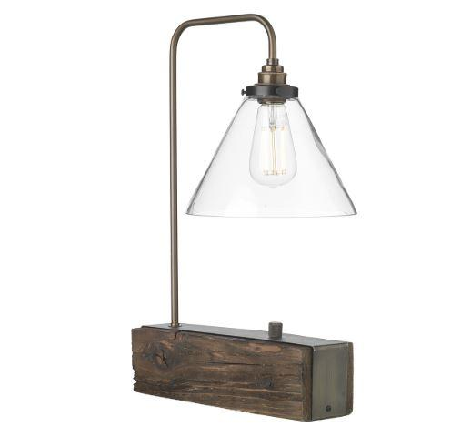 Wooden Style Table Light with Clear Glass Shade - ID 10270