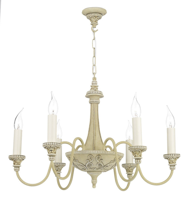 Bailey Cream 6 Lamp Chandelier - London Lighting - 1