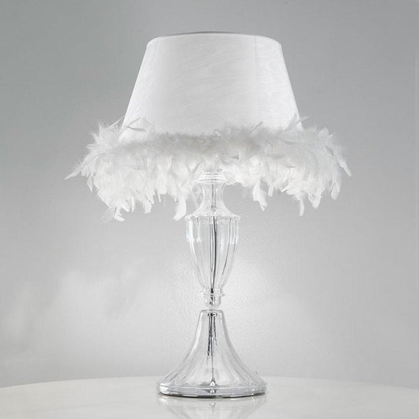 Baroque Feather Table Lamp with White Shade & White Feathers