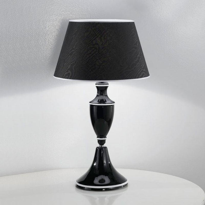 Baroque Table Lamp with Black Shade & White Trimming
