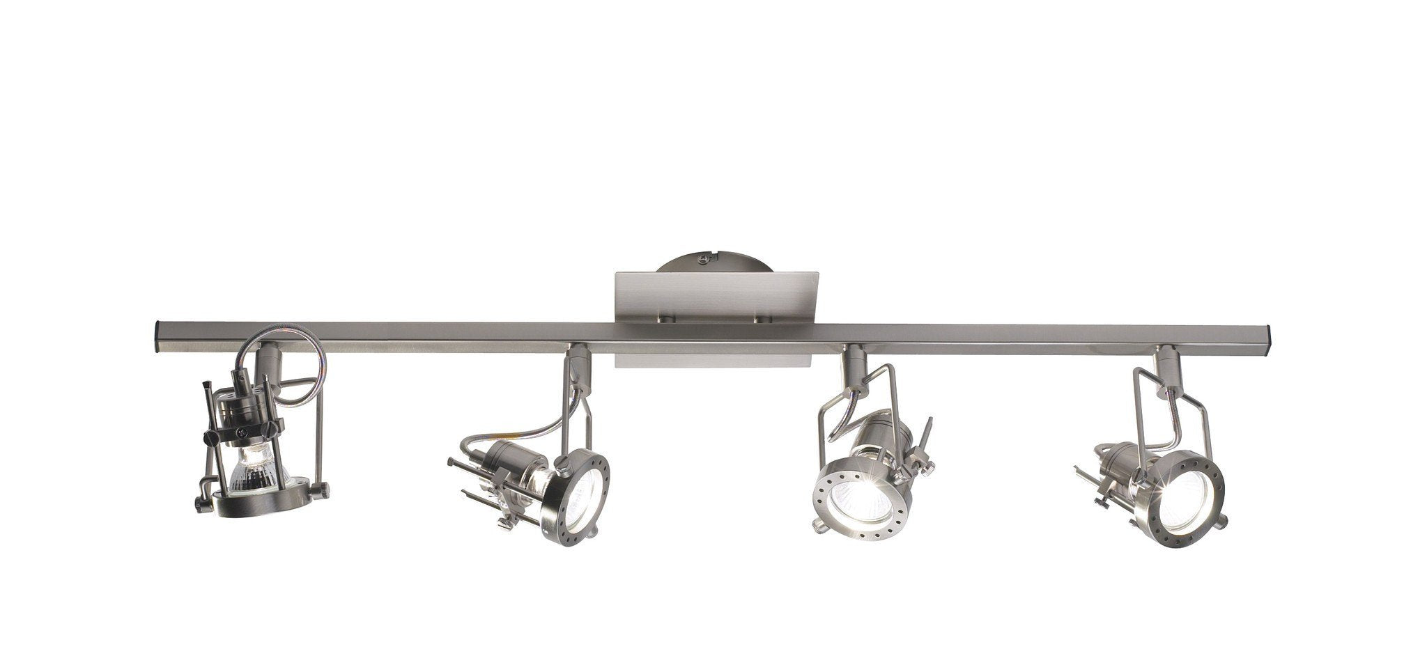 Bauhaus Satin Chrome Four Spot Bar - London Lighting - 1