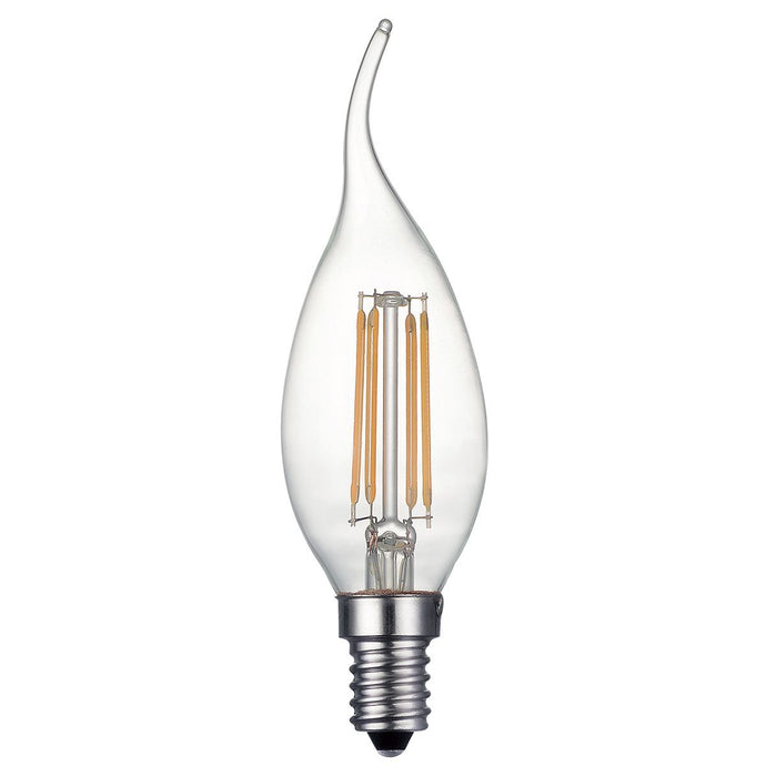 Clear French Flame Candle Lamp Warm White 4W LED E14 - ID 9780