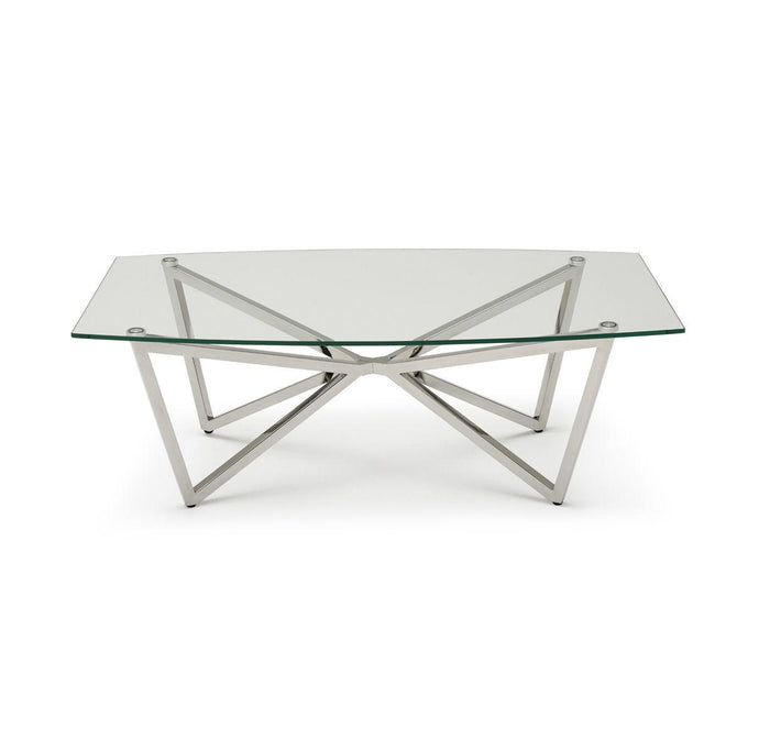 Ven Polished Stainless Steel Coffee Table with Clear Glass - ID 9071