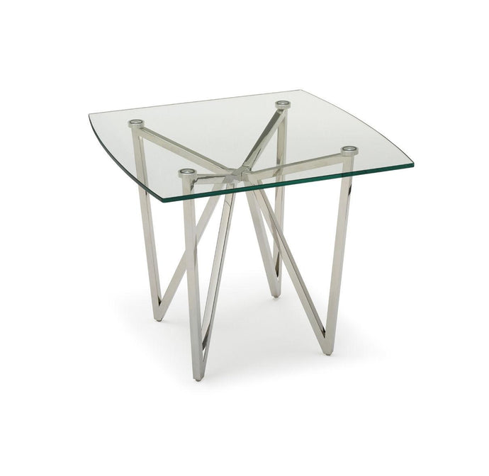 Ven Polished Stainless Steel Lamp Table with Clear Glass - ID 9072