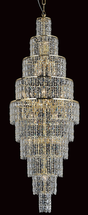 Grove Ten Tiered 24 Light Cascading Crystal Chandelier In Gold - ID 8114