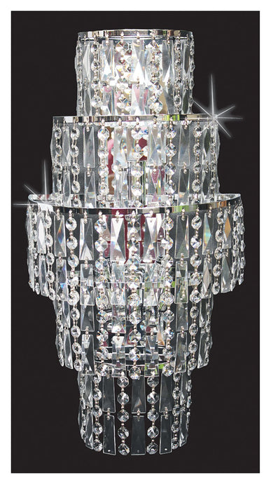 Grove Five Tiered 3 Light Cascading Crystal Wall Light In Polished Chrome - ID 8107