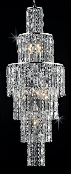 Grove Six Tiered 6 Light Cascading Crystal Chandelier In Polished Chrome - ID 8108