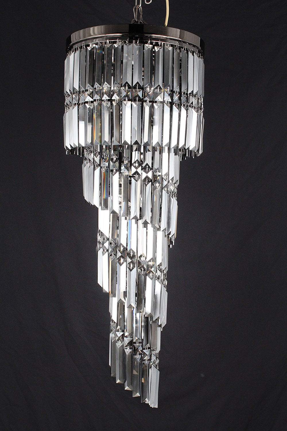 Finchley 9 Light Spiral Polished Chrome Chandelier With Smoked Gun Metal Crystal - ID 8125