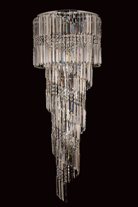 Finchley 14 Light Spiral Polished Chrome Chandelier With Clear Crystal - ID 8115
