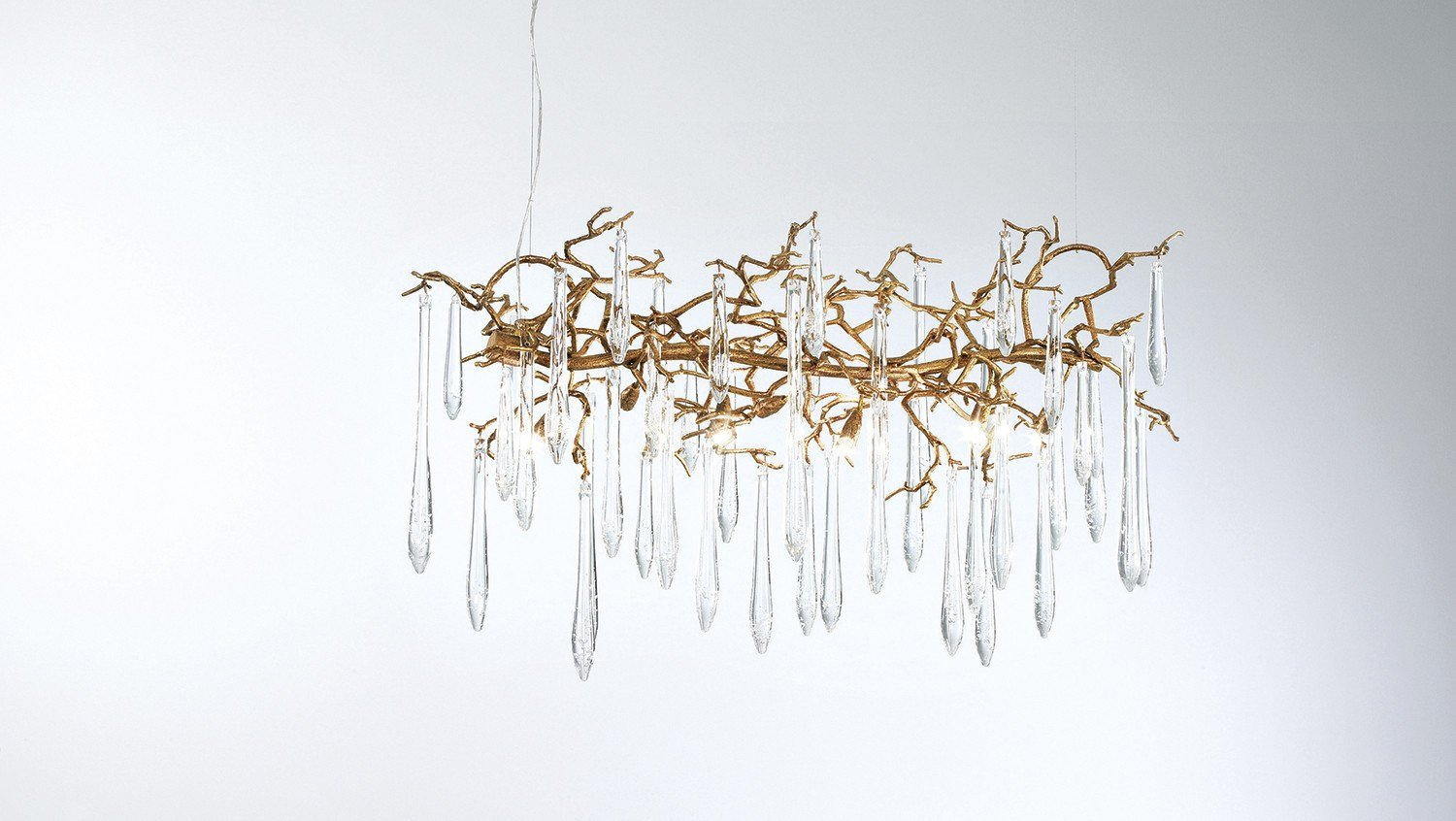 Serip Aqua 8 Lamp Horizontal Organic Bespoke Chandelier - London Lighting - 1