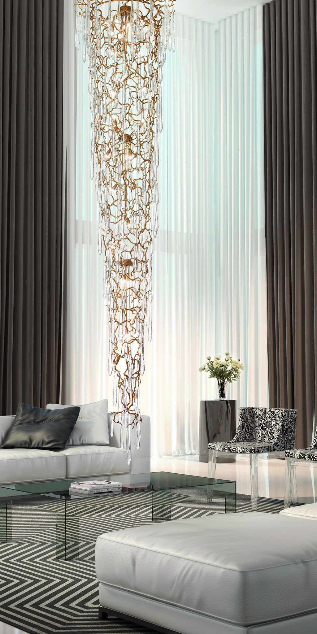 Serip Aqua 32 Lamp Bespoke Chandelier - London Lighting - 1