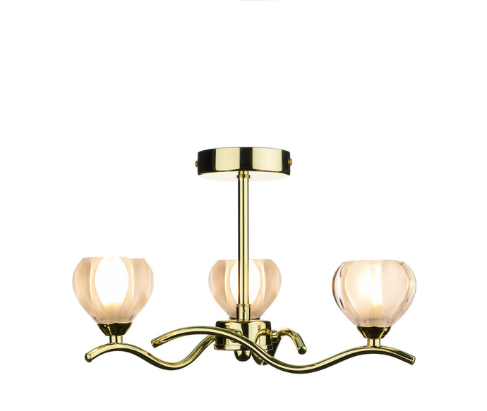 Cynthia Polished Brass 3 Arm Ceiling Light - London Lighting - 1