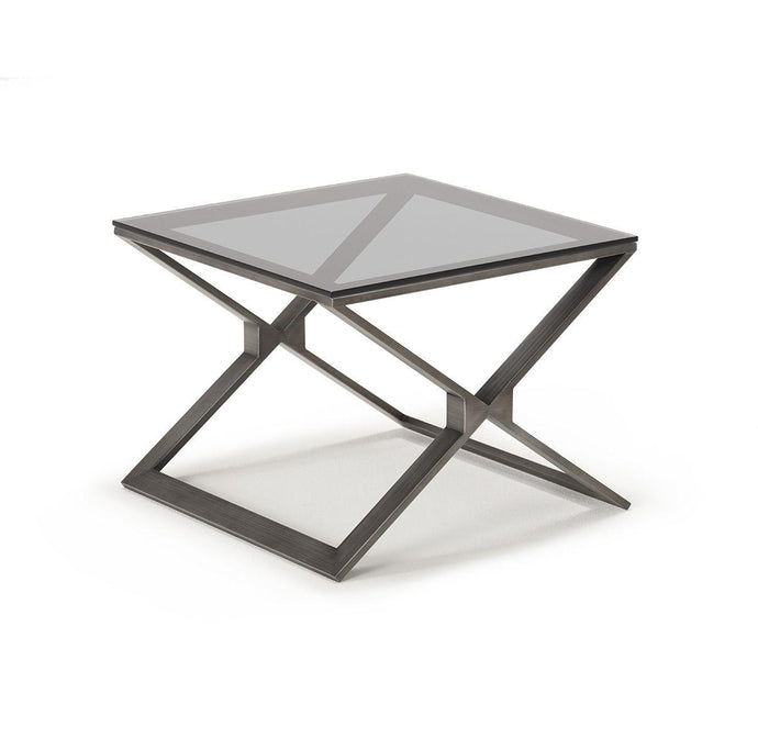 Drew Pewter Lamp Table with Grey Glass - ID 9063