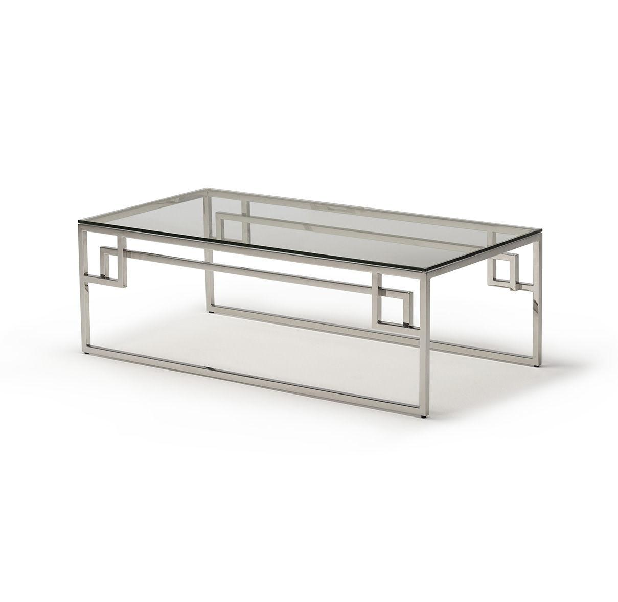 Cen Polished Stainless Steel Coffee Table with Clear Glass - ID 9066