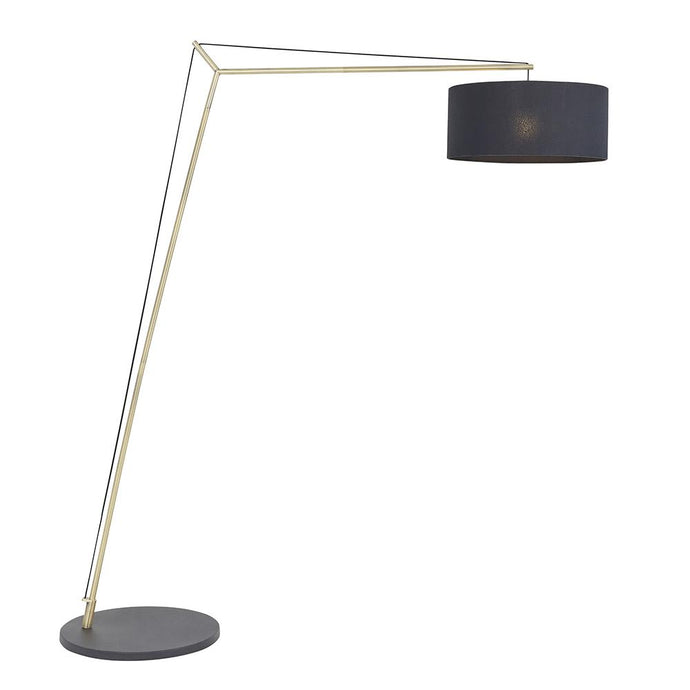 Leaning Matt Brass Floor Lamp with Black Shade - ID 11028