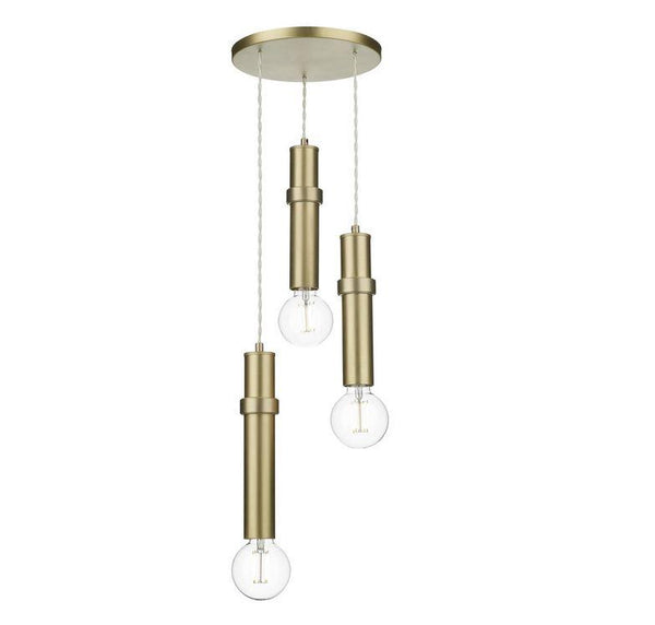Brushed Brass 3 Light Cylinder Pendant - ID 10156