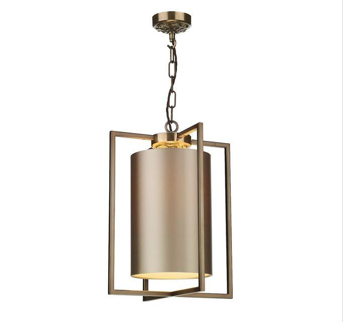 Chiswick Antique Brass Rectangular Frame Lantern Pendant with Shade Colour Options - ID 10166
