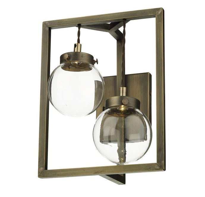 Chiswick Antique Brass 2 Globe Rectangular Frame Wall Light - ID 6961