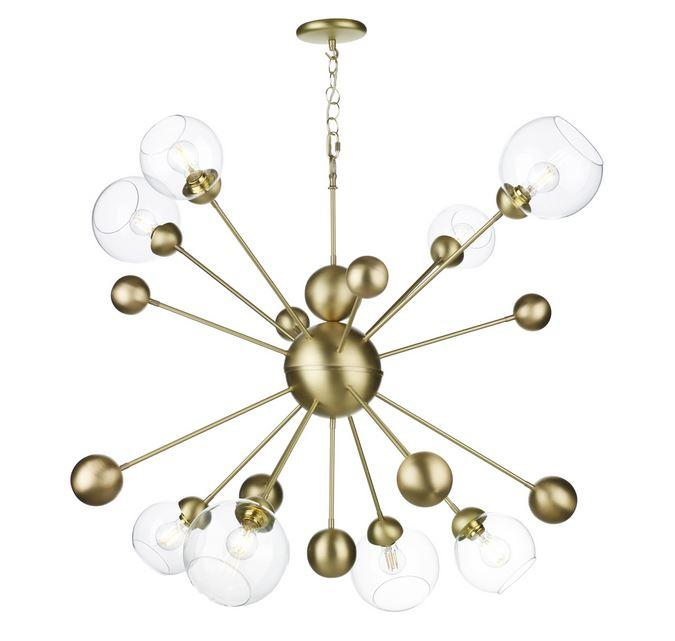 Fortis 8 Light Horizontal Pendant In Brushed Brass With Glass Orbs - ID 10151