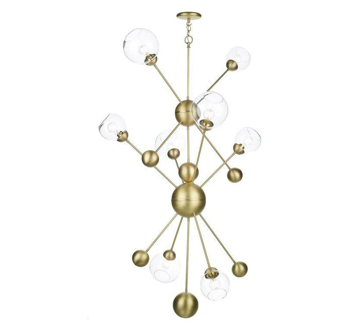 Fortis 8 Light Tall Pendant In Brushed Brass With Glass Orbs - ID 8085