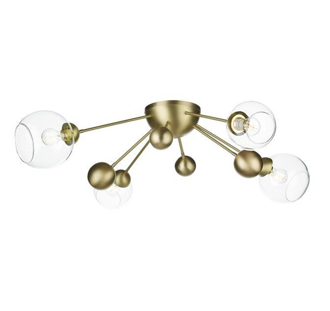 Fortis 4 Light Horizontal Semi Flush In Brushed Brass With Glass Orbs - ID 10152